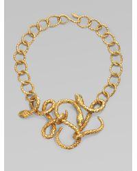Saint Laurent | Metallic Jadeaccented Snake Necklace | Lyst