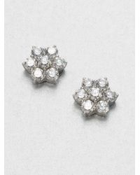 Adriana Orsini | Metallic Flower Cluster Sterling Silver Stud Earrings | Lyst