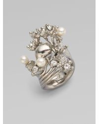 Alexander McQueen | Metallic Swarovski Crystal Accented Skull Wave Ring | Lyst