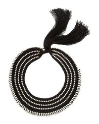 Alyssa Norton - Black Braided Silk and Glass Pearl Necklace - Lyst