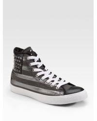 Converse | Black Chuck Taylor Studded Flag High-top Sneakers for Men | Lyst