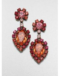 DANNIJO | Orange Eddie Oxidized Silverplated Swarovski Crystal Earrings | Lyst