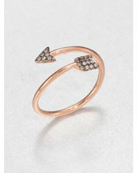 Diane Kordas - Metallic Brown Diamond & 18K Rose Gold Arrow Wrap Ring - Lyst
