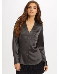 DKNY - Black Stretch Silk Blouse - Lyst