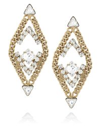 Elizabeth Cole | Metallic Double Triangle Goldplated Swarovski Crystal Earrings | Lyst