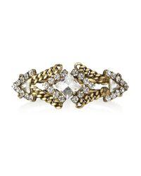 Elizabeth Cole - White Plated Swarovski Crystal Bracelet - Lyst