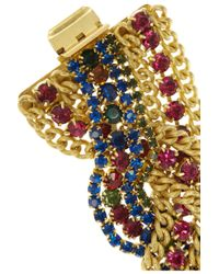 Elizabeth Cole - Metallic Goldplated Swarovski Crystal Bracelet - Lyst