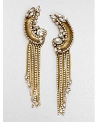 Erickson Beamon | Metallic Bette Encrusted Tassel Drop Earrings | Lyst
