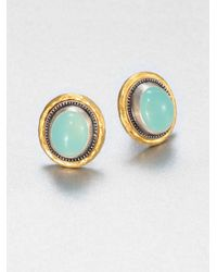 Gurhan - Blue Aqua Chalcedony Sterling Silver 24k Yellow Gold Earrings - Lyst