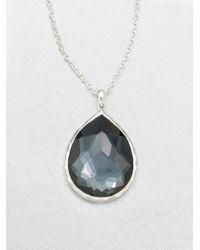Ippolita - Metallic Wonderland Hematite, Clear Quartz & Sterling Silver Large Teardrop Doublet Pendant Necklace - Lyst