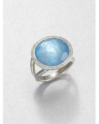 Ippolita - Stella Swiss Blue Topaz, Mother-of-pearl, Diamond & Sterling Silver Medium Doublet Cocktail Ring - Lyst