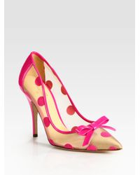 kate spade new york | Black Polkadot Patent Leather Mesh and Velour Point Toe Pumps | Lyst
