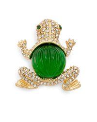 Kenneth Jay Lane | Green Glass Crystal Frog Brooch | Lyst