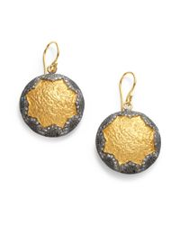 Kevia - Metallic Twotone Hammered Star Earrings - Lyst