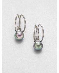 Majorica - Metallic 10mm Grey Round Pearl Triple Hoop Earrings - Lyst