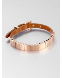 Michael Kors | Pink Rectangular Slide Bead Leather Bracelet Rose Goldtone | Lyst