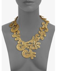Oscar de la Renta - Metallic Cast Lace Bib Necklace - Lyst