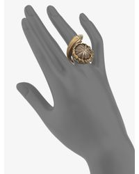 Saint Laurent - Metallic Pyrite Snail Ring - Lyst