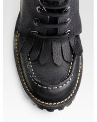 Tory Burch - Black Trigg Lace-up Pebbled Leather Boots - Lyst