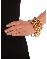 BaubleBar - Metallic Gold Triple Chain Bracelet - Lyst