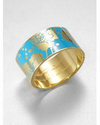 Kate Spade | Blue Floral Enamel Cuff Bracelet | Lyst