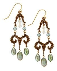 Stephen Dweck | Brown Green Pearl Bronze Earrings | Lyst