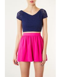 TOPSHOP - Blue Lace Bardot Crop Top - Lyst