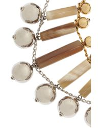 Marni - Metallic Gold Tone and Silver Ttone Brass and Horn Necklace - Lyst