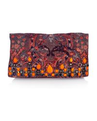 Matthew Williamson - Red Embellished Brocade and Suede Clutch - Lyst