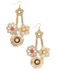 ModCloth | Metallic Fancy Flourish Earrings | Lyst
