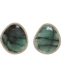 Monique Pean Atelier Green Diamond Emerald Slice Stud Earrings