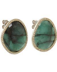 Monique Pean Atelier - Green Diamond Emerald Slice Stud Earrings - Lyst