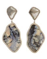Monique Pean Atelier | Blue Diamond Woolly Mammoth Tooth Drop Earrings | Lyst