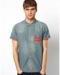 Native Youth | Blue Denim Shirt with Aztec Pocket for Men | Lyst