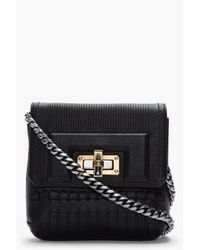 Lanvin - Mini Black Woven Leather Happy Chainstrap Shoulder Bag - Lyst
