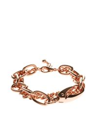 ASOS Collection - Pink Double Row Chain Bracelet - Lyst