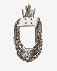 Jenny Bird | White Leather and Chain Collar Necklace | Lyst