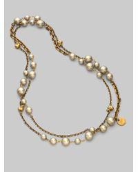 Alexander McQueen - Metallic Long White Freshwater Pearl Skull Necklacegold - Lyst