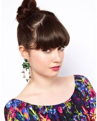 ASOS Collection | Green Spike Link Gem Drop Earring | Lyst
