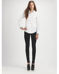 Burberry - White Jeweled Cotton Blouse - Lyst