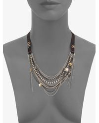 Juicy Couture | Gray Chain Link Grosgrain Necklace | Lyst