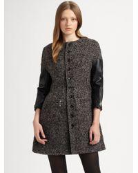 Junya Watanabe | Gray Leather Sleeve Tweed Coat | Lyst