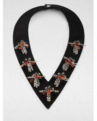 Marni - Black Embellished Vneck Collar Necklace - Lyst