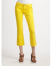 Tory Burch | Yellow Cropped Jeans | Lyst