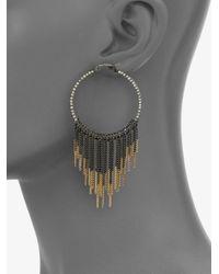 ABS By Allen Schwartz - Brown Chain Fringe Hoop Earrings - Lyst