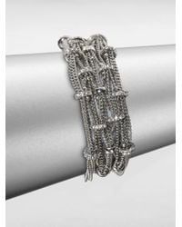 ABS By Allen Schwartz | Metallic Pave Rondelle Multi-row Chain Bracelet | Lyst