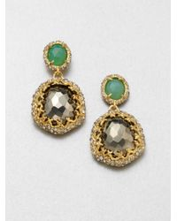 Alexis Bittar - Green Swarovski Crystal Accented Semiprecious Multistone Drop Earrings - Lyst