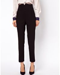 ASOS Collection - Black Asos High Waist Evening Trousers - Lyst