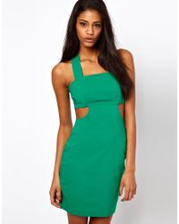 ASOS Collection | Green Bengaline Bodycon with Cut Out | Lyst
