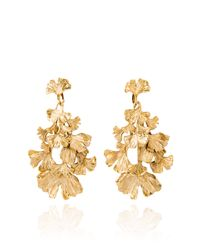 Aurelie Bidermann | Metallic Gold Plated Ginkgo Feather Articulated Earrings | Lyst